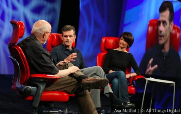 Walt Mossberg mit Dennis Woodside und Regina Dugan auf der D11-Konferenz (Bild: ATD)