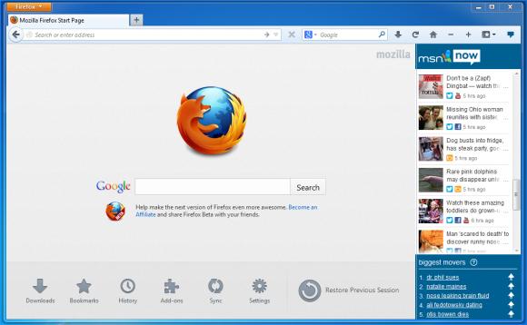 Mit Firefox 21 können Nutzer auch MSN Now jederzeit per Seitenleiste im Blick behalten (Bild: Mozilla).