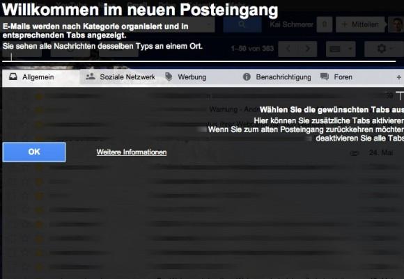 Neues Layout für Gmail