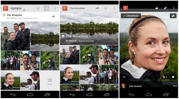 Version 4.0 von Google+ für Android bringt unter anderem neue Fotofunktionen (Bild: Google).