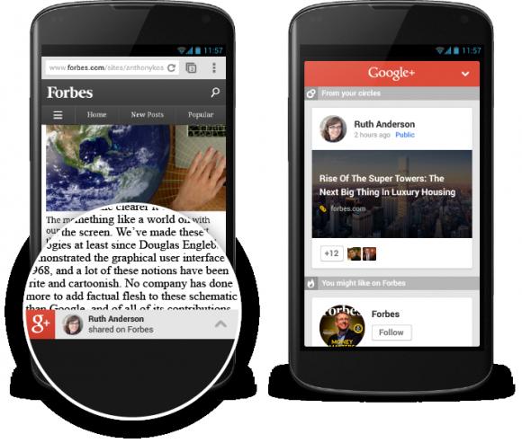 Mobilnutzer bekommen auf bestimmten Websites nun Google+-Empfehlungen angezeigt (Bild: Google).