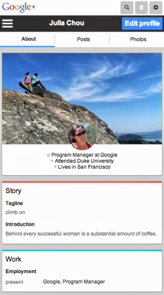 Die umgestalltete mobile Webversion von Google+ bietet nun Cover-Fotos und größere Schaltflächen (Bild: Google).