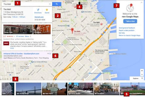 "Die neue Maps-Oberfläche stellt die Karte in den Mittelpunkt (Bild via <a href=""http://googlesystem.blogspot.de/2013/05/new-google-maps-interface.html"" target=""_blank"">Google Operating System</a>)."
