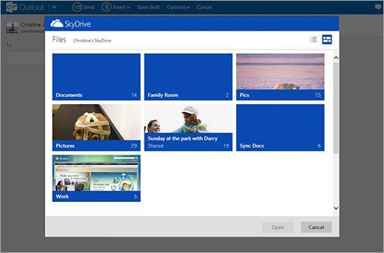 Integration von SkyDrive in Outlook.com