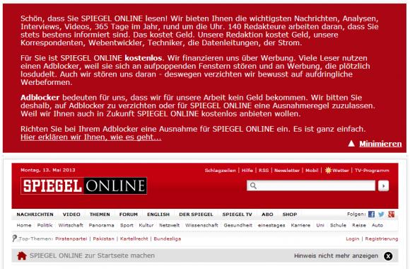 Unter anderem appelliert Spiegel Online an seine Leser, ihren Adblocker auszuschalten (Screenshot: ZDNet).