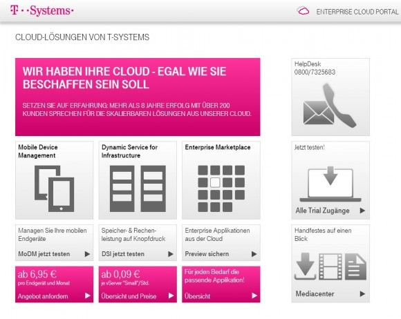 "Das ""Enterprise Cloud Portal"" von T-Systems richtet sich an Großkunden (Screenshot: ZDNet)."