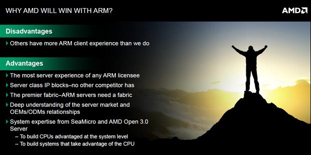Vor- und Nachteile von AMDs Partnerschaft mit ARM (Folie: AMD)