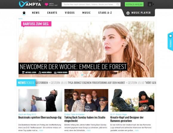 Das Angebot von Ampya umfasst 20 Millionen Songs, 100.000 Radiostationen und 57.000 Musikvideos (Screenshot: ZDNet).