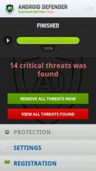 Oberfläche von Android Fakedefender