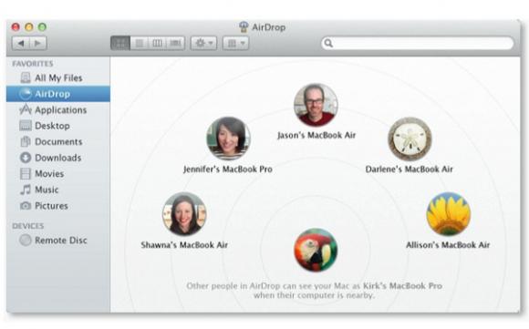 Apple AirDrop unter Mac OS X Lion (Bild: Apple)
