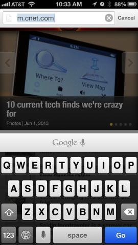 Chrome 27 für iOS mit Sprachsuche-Symbol über der Tastatur
