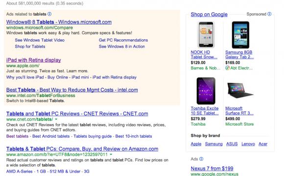 Suchmaschinenbetreiber müssen auf ihren Ergebnisseiten Anzeigen und bezahlte Links eindeutig kennzeichnen (Screenshot: Shara Tibken/CNET).