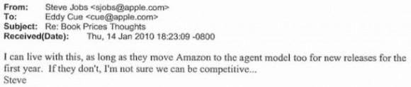 E-Mail von Steve Jobs an Eddy Cue