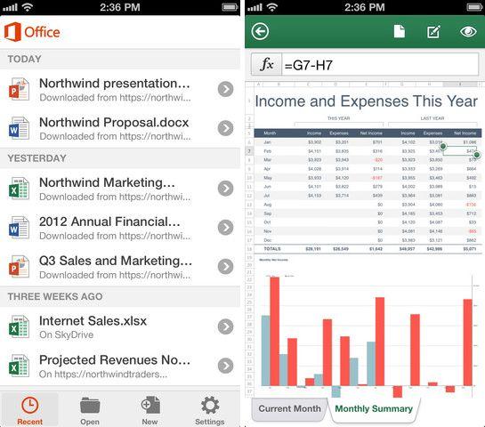 Mit Office Mobile for iPhone lassen sich Word-Dokumente, Excel-Tabellen (rechts) und PowerPoint-Präsentationen bearbeiten (Bild: Microsoft).