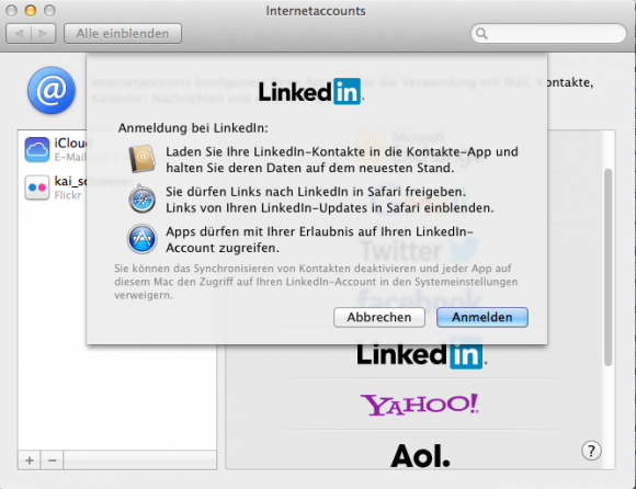 LinkedIn-Integration in OS X 10.9 Mavericks