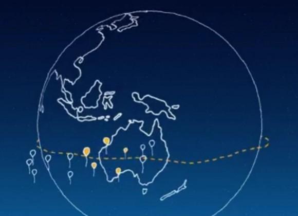 Project Loon sieht einen Ring von Ballons vor, die von stratosphärischen Winden um die Welt getragen werden (Bild: Google).