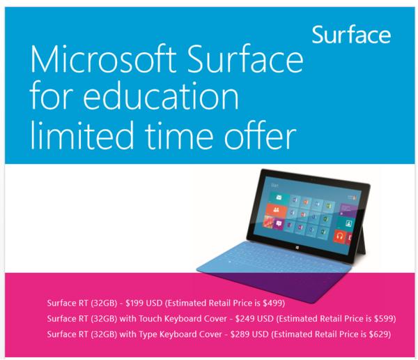 Später zurückgezogene Informationsseite zum Surface-RT-Sonderpreis für Schulen