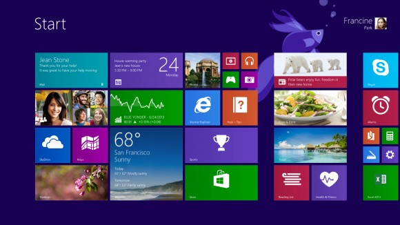 start screen Preview of Windows 8.1