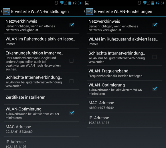 Android 4.3 Jelly Bean: WLAN-Einstellungen
