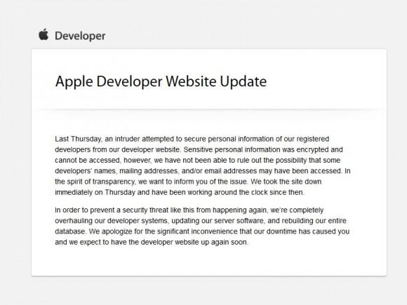 Angriff auf Apple Developer-Site