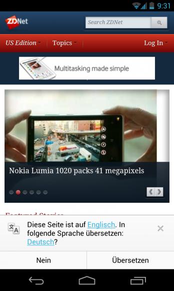 Chrome 28 für Android bietet bei fremdsprachigen Websites automatisch eine Übersetzung an (Screenshot: ZDNet.de).