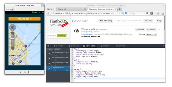 Mit dem Firefox OS Simulator können Entwickler ihre Anwendungen ohne physisches Endgerät auf dem Desktop testen (Bild: Mozilla).