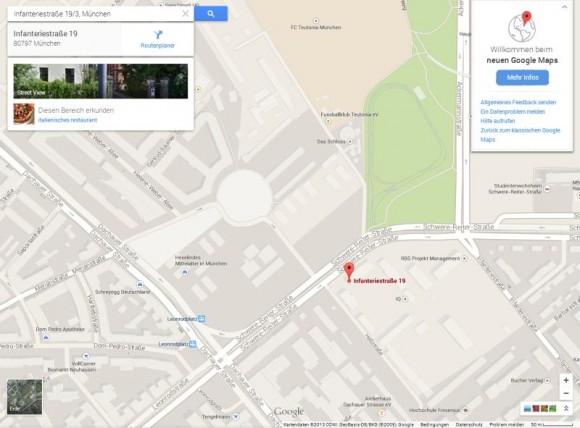 Die neue Oberfläche von Google Maps stellt die interaktive Karte in den Mittelpunkt (Screenshot: ZDNet.de).