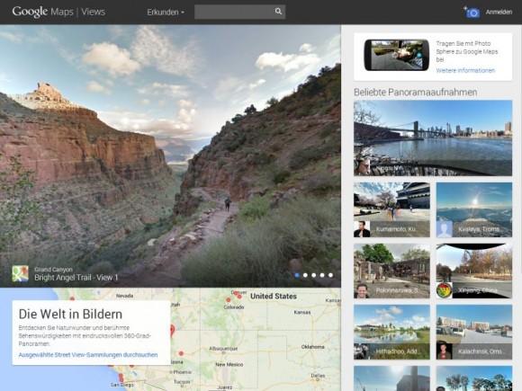 Auf Views können Nutzer ihre Photo-Sphere-Bilder hochladen und die anderer durchstöbern (Screenshot: ZDNet.de).