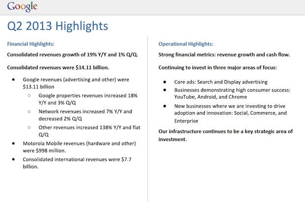 Highlights in Googles zweitem Quartal 2013 (Bild: Google)
