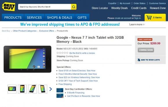 Bei BestBuy kostet die 32-GByte-Version des 7-Zoll-Tablets knapp 270 Dollar (Screenshot: ZDNet.de).
