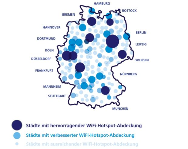 Geschäftskunden von O2 erhalten mit der WiFi-Flatrate Zugang zu bundesweit über 3000 WLAN-Hotspots von The Cloud (Grafik: O2).