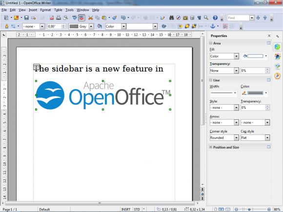Die neue Seitenleiste von OpenOffice 4.0 passt sich kontextabhängig an (Bild: ASF).