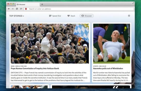 Discover stellt dem Nutzer Inhalte bereit, die ihn aufgrund seiner Präferenzen interessieren könnten (Bild: Opera Software).