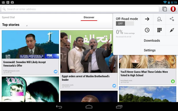 Opera 15 für Android (Screenshot: Lance Whitney/CNET)
