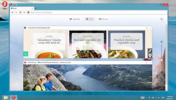 Mit Stash lassen sich Online-Inhalte samt Metadaten mit einem einzigen Klick in einer Liste speichern (Bild: Opera Software).