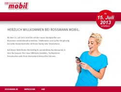 Die Ankündigungs-Website von Rossmann mobil (Screenshot: ZDNet.de)