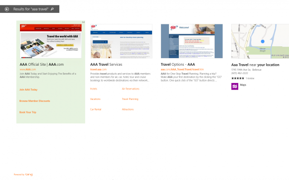 Anzeigen in Windows 8.1 Smart Search