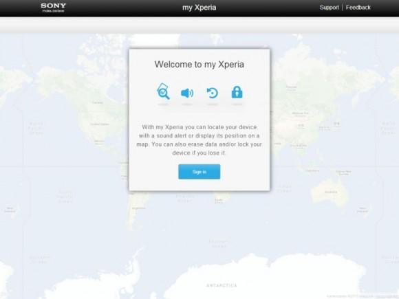 Die Weboberfläche von My Xperia bietet Zugang zu verschiedenen Fernzugriffsfunktionen (Bild: Sony).
