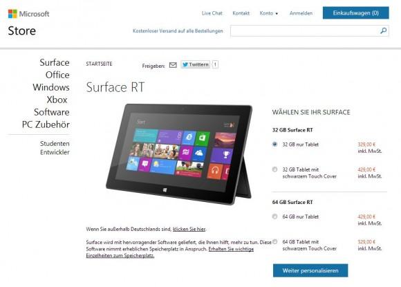 Microsoft hat in seinem deutschen Onlineshop die Preise für das Surface RT um 150 Euro reduziert (Screenshot: ZDNet.de).