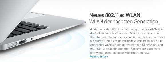 Apple MacBook Air mit neuen WLAN-Standard (Screenshot: ZDNet)