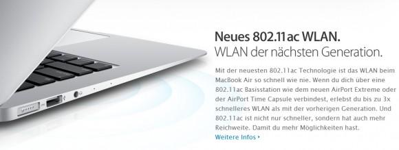 Apple MacBook Air mit neuen WLAN-Standard (Screenshot: ZDNet)