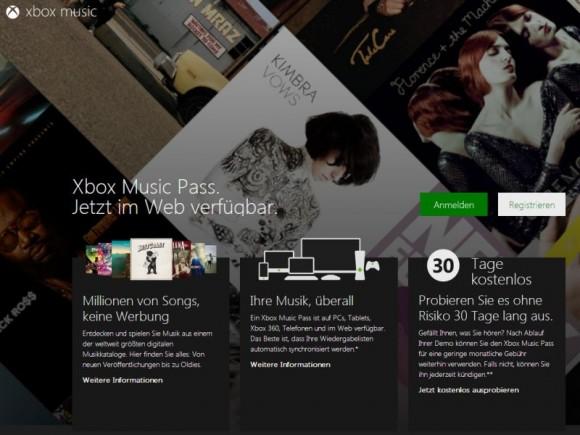 Nutzer können sich ab sofort für die Webversion von Xbox Music anmelden (Screenshot: ZDNet.de).