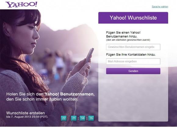 Yahoo-Anwender können ab sofort fünf Wunsch-IDs angeben (Screenshot: ZDNet.de).