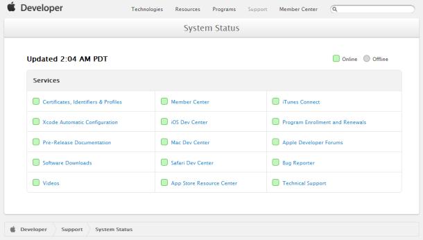 Laut Apples Status-Website sind alle Entwickler-Services wieder online (Screenshot: ZDNet.de).