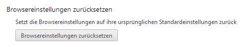Reset-Button von Chrome 29