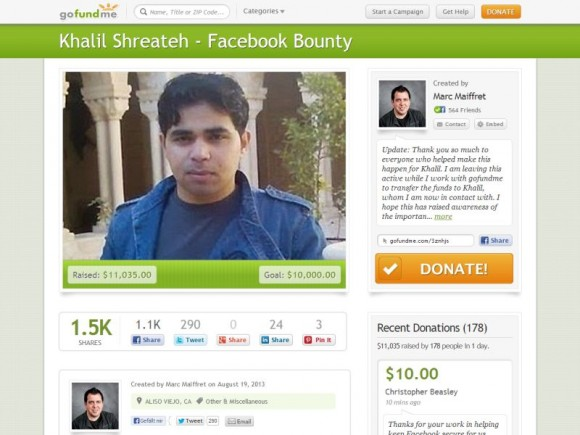 Rund 180 Unterstützer sammelten über 11.000 Dollar für Khalil Shreateh (Screenshot: ZDNet.de).