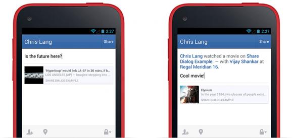 Der neue Share Dialog vereinfacht das Sharing aus Android-Apps heraus (Bild: Facebook).