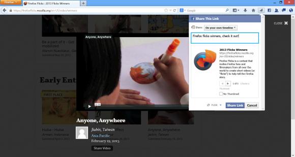Sharing-Funktion von Firefox 23