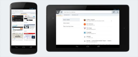 Überarbeiteter Awesomescreen von Firefox für Android