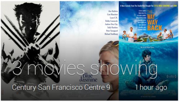 Nach dem jüngsten Update zeigt Glass auch Google-Now-Karten mit dem aktuellen Kinoprogramm an (Bild: Google).